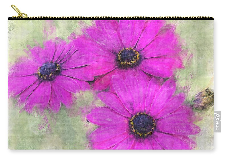 Nature Carry-all Pouch featuring the digital art Purple Daisy Trio Watercolor Photoart by Debbie Portwood