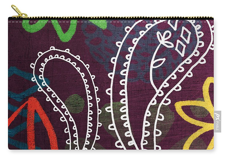 Paisley Carry-all Pouch featuring the painting Purple Paisley Garden by Linda Woods