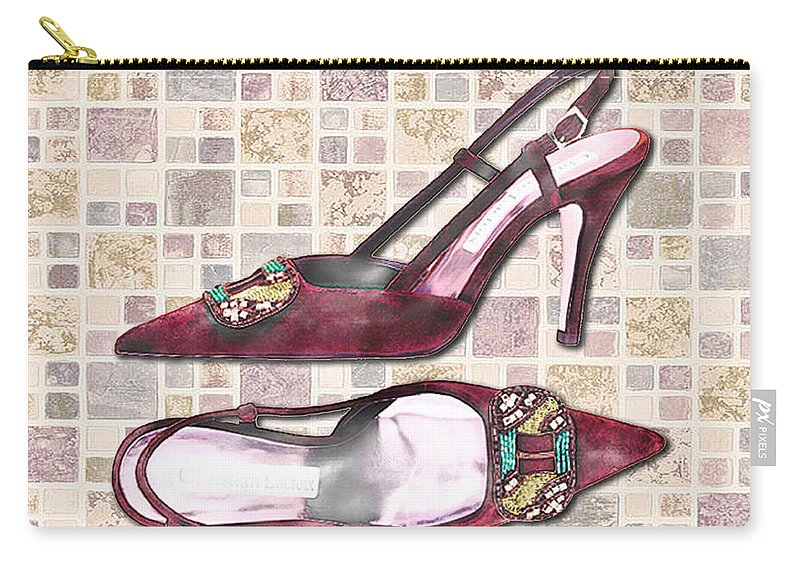 Shoes Heels Pumps Fashion Designer Feet Foot Shoe Stilettos Painting Paintings Illustration Illustrations Sketch Sketches Drawing Drawings Pump Stiletto Fetish Designer Fashion Boot Boots Footwear Sandal Sandals High+heels High+heel Women's+shoes Graphic Sophisticated Elegant Modern Carry-all Pouch featuring the painting Purple Pumps On Terrazzo Tiles by Elaine Plesser