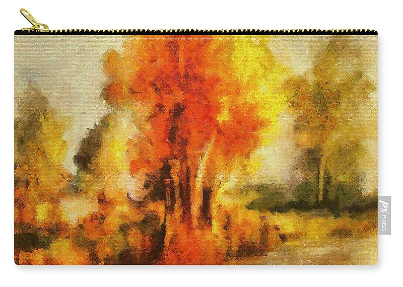 Tree Carry-all Pouch featuring the painting Purple Smoke Tree by Dragica Micki Fortuna