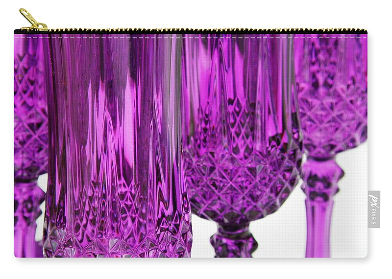 Purple Carry-all Pouch featuring the photograph Purple Stemware by Lainie Wrightson