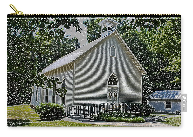 Scott Carry-all Pouch featuring the photograph Quaker Church Pencil by Scott Hervieux