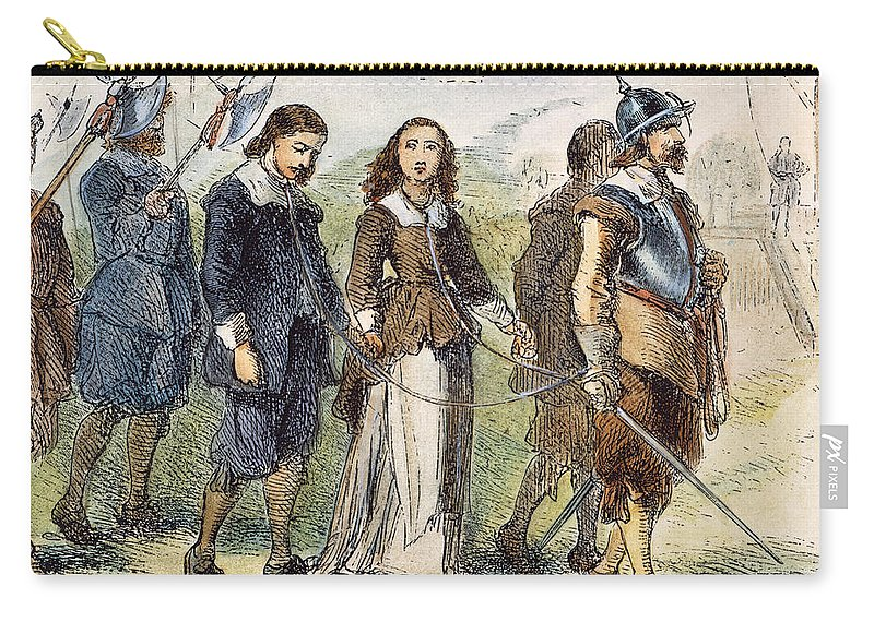 1659 Carry-all Pouch featuring the photograph Quakers: Mary Dyer, 1659 by Granger