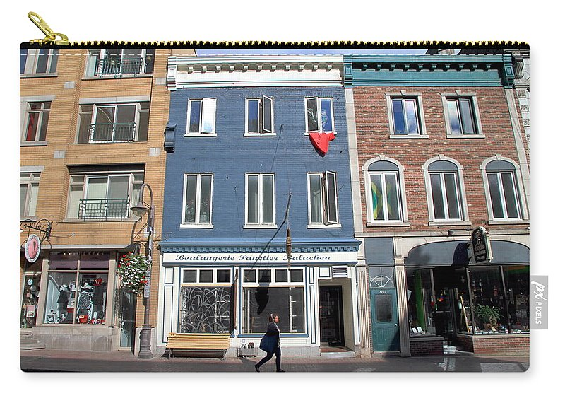 Street Carry-all Pouch featuring the photograph Quebec City Street View by Valentino Visentini