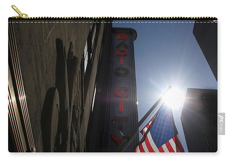 New York Carry-all Pouch featuring the photograph Radio City Music Hall 1 by Andrew Fare