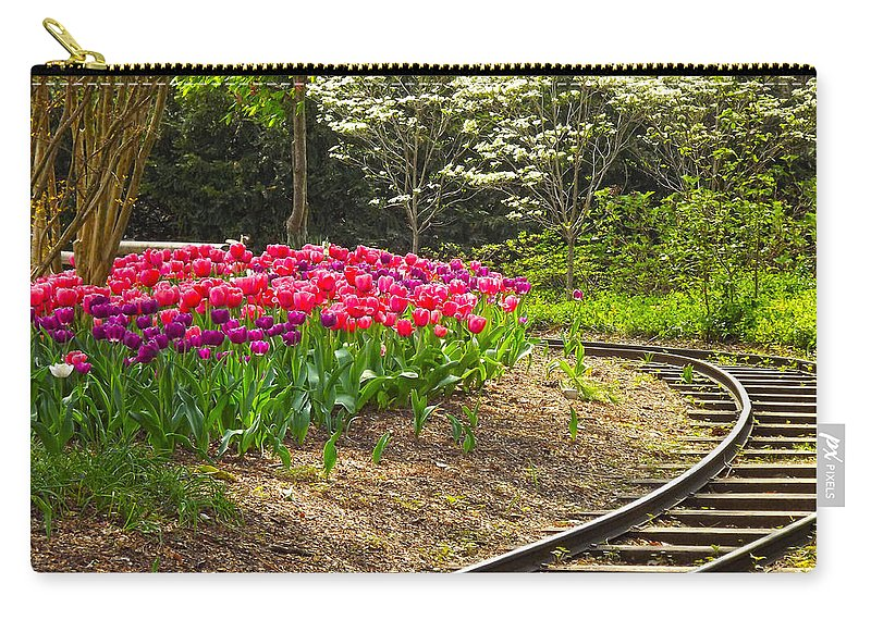 Tulips Photograph Carry-all Pouch featuring the photograph Railroad Beauties by Glenna Oliver