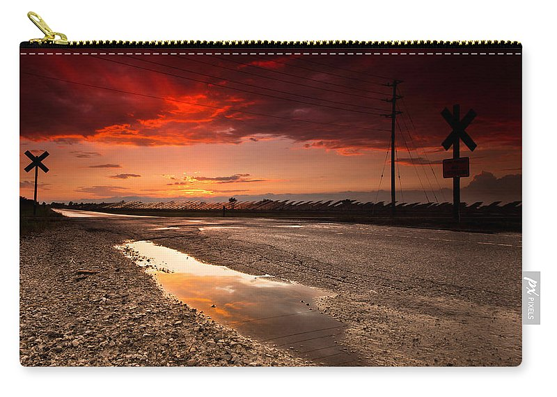 Rail Carry-all Pouch featuring the photograph Railroad Reflection by Cale Best