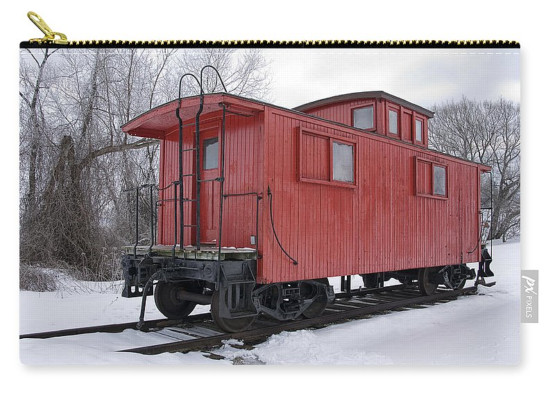 Art Carry-all Pouch featuring the photograph Railroad Train Red Caboose by Randall Nyhof