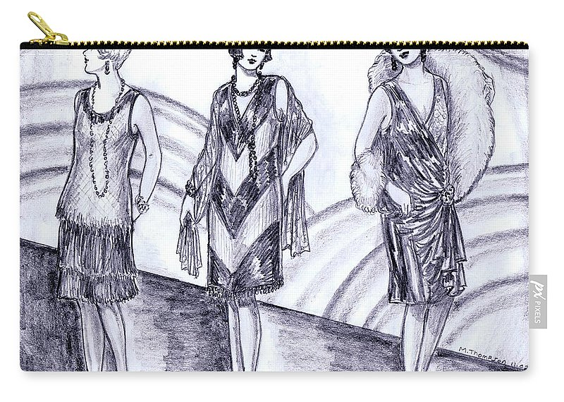 Nostalgia Carry-all Pouch featuring the drawing Rainbow 1920s Fashions by Mel Thompson