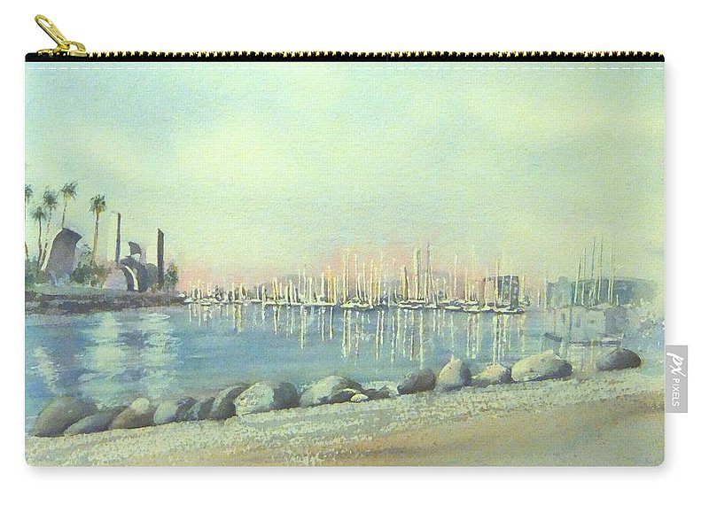 Long Beach Carry-all Pouch featuring the painting Rainbow Harbor And The Oil Island by Debbie Lewis