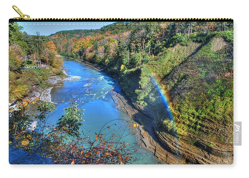 Carry-all Pouch featuring the photograph Rainbow On A Beautiful Oct Day by Michael Frank Jr