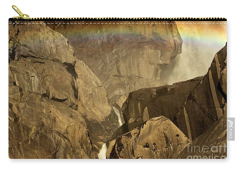 Yosemite National Park Carry-all Pouch featuring the photograph Rainbow Over Lower Bridal Veil by Adam Jewell
