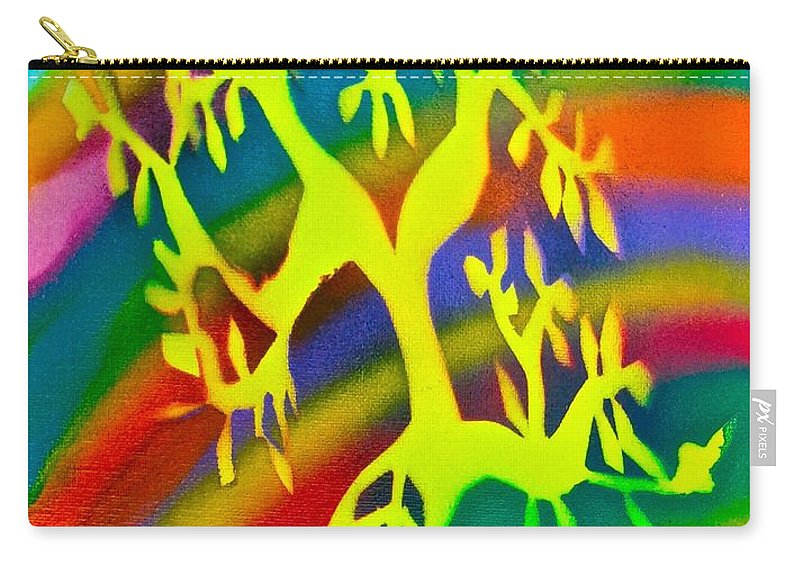 Tree Carry-all Pouch featuring the painting Rainbow Roots by Tony B Conscious