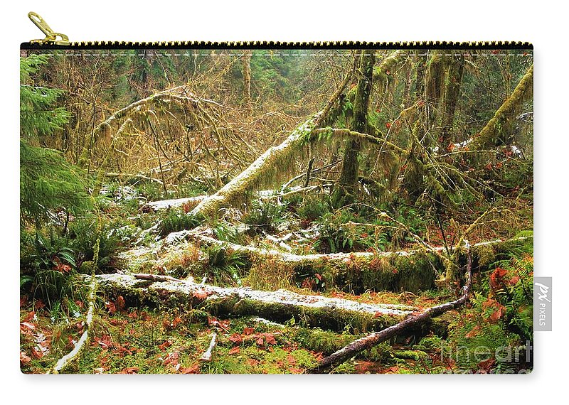 Hoh Rainforest Carry-all Pouch featuring the photograph Rainforest Dusting by Adam Jewell