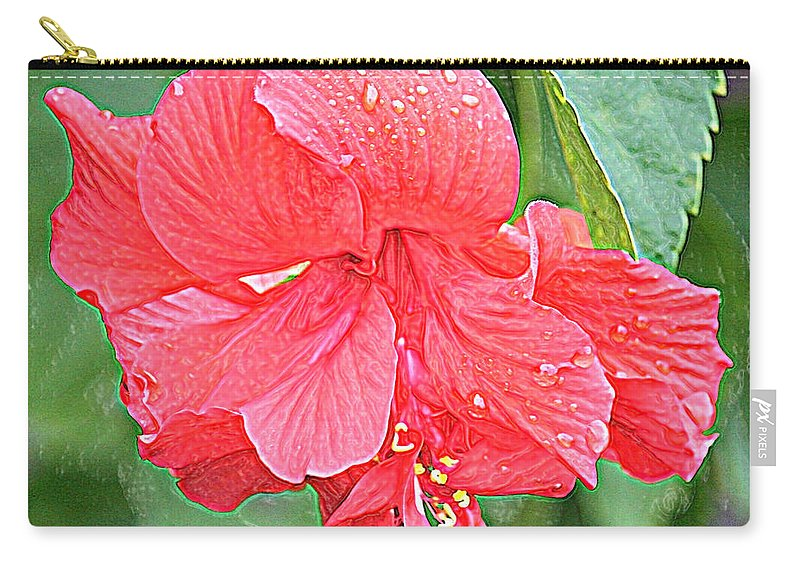 Hibiscus Carry-all Pouch featuring the photograph Rainy Day Hibiscus by Carol Groenen