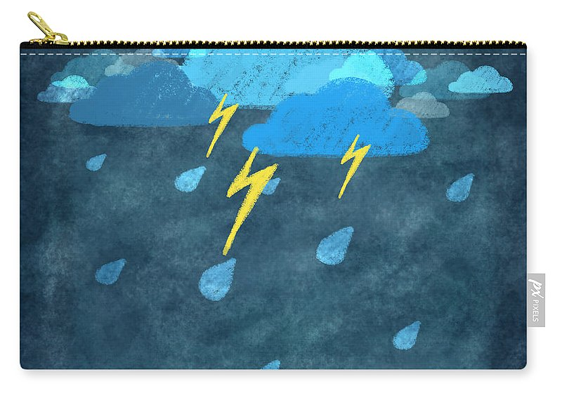 Art Carry-all Pouch featuring the photograph Rainy Day With Storm And Thunder by Setsiri Silapasuwanchai