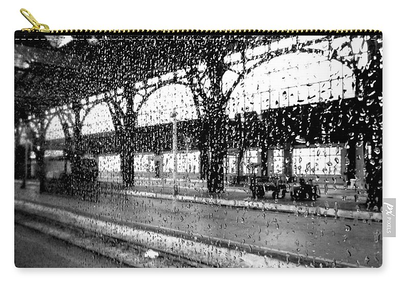 Rain Carry-all Pouch featuring the photograph Rainy Departure by Valentino Visentini
