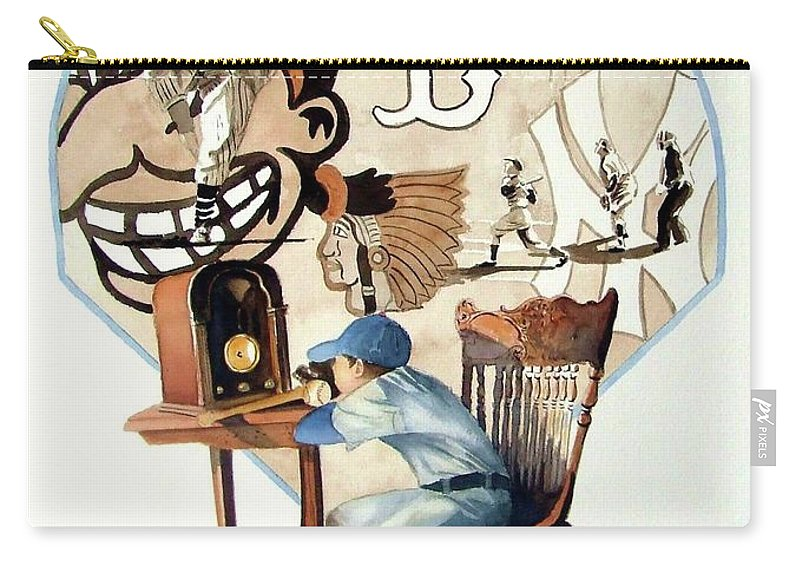Baseball Carry-all Pouch featuring the painting Raised On The Radio 3 by Greg and Linda Halom