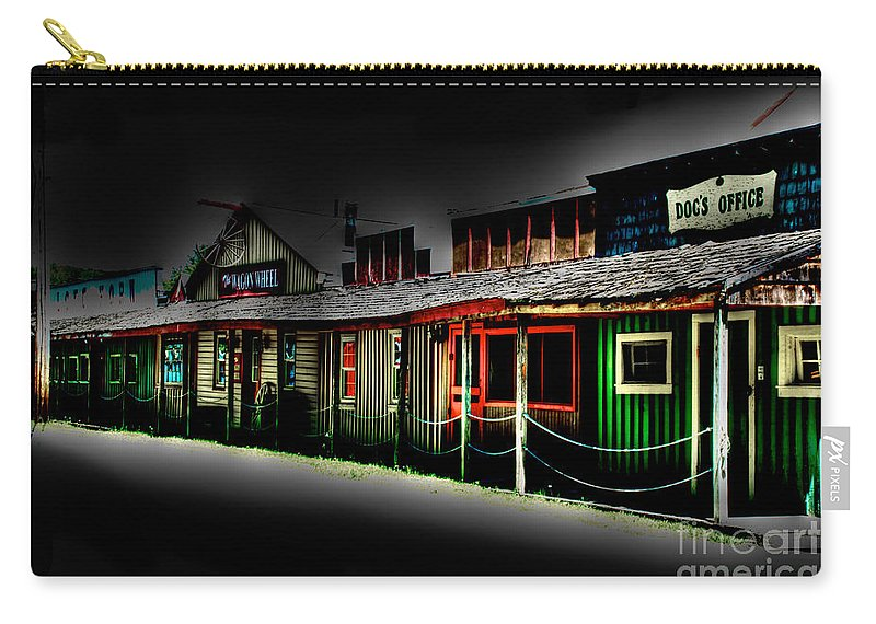 Tonemapped Carry-all Pouch featuring the photograph Ranch Buildings - Black by Mark Dodd