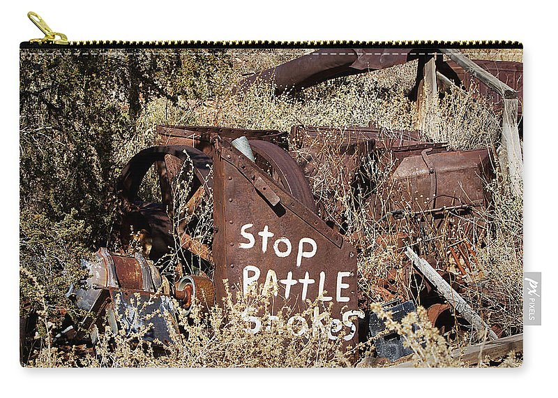 Sign Carry-all Pouch featuring the photograph Rattlesnake Warning by Phyllis Denton