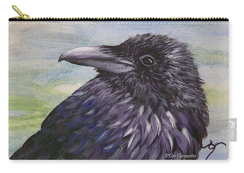 Raven Carry-all Pouch featuring the painting Raven by Dee Carpenter
