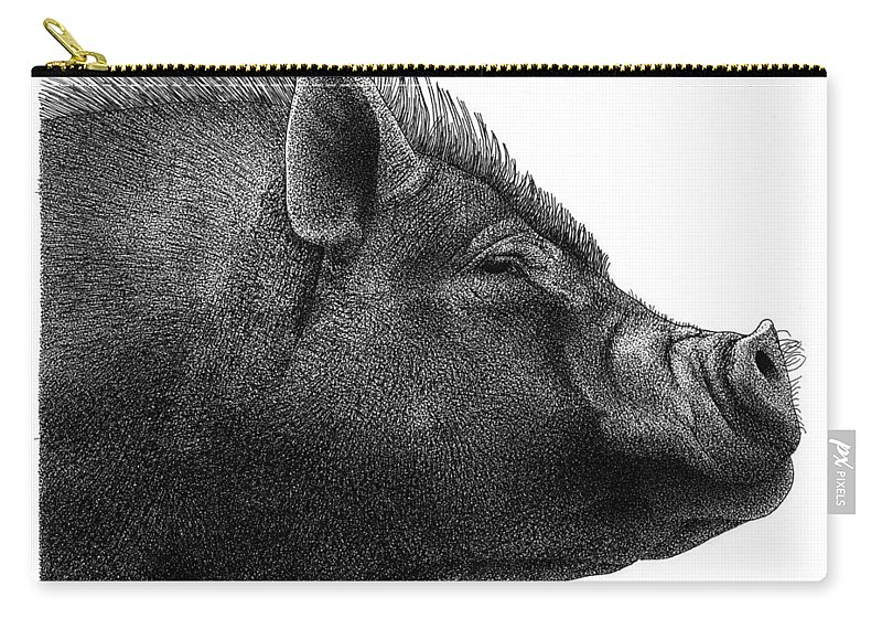 Razorback Carry-all Pouch featuring the drawing Razorback by Scott Woyak