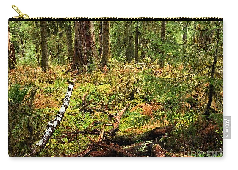 Hoh Rainforest Carry-all Pouch featuring the photograph Recycling In The Hoh by Adam Jewell
