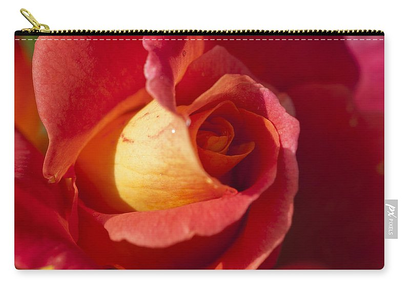 Red And Orange Rose Carry-all Pouch featuring the photograph Red And Orange 2 by Steve Purnell
