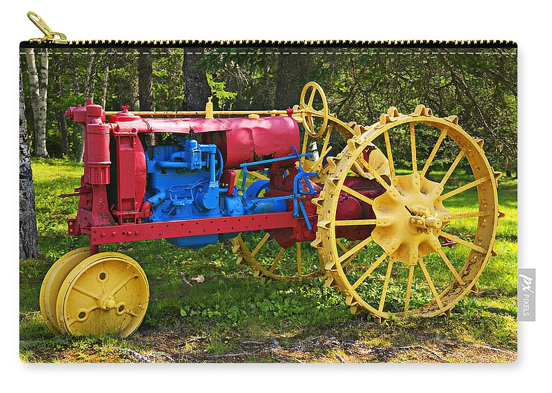 Tractor Carry-all Pouch featuring the photograph Red And Yellow Tractor by Garry Gay