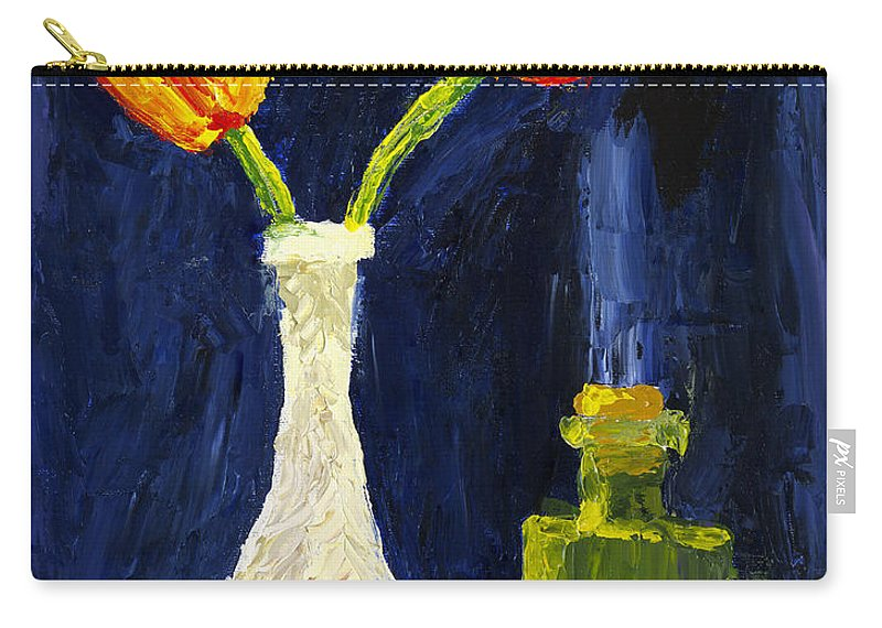 Tulip Painting Carry-all Pouch featuring the painting Red And Yellow Tulips In Vase Abstract Palette Knife Painting by Keith Webber Jr