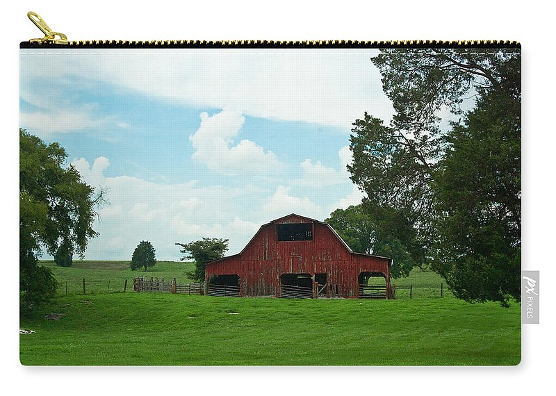 Barn Carry-all Pouch featuring the photograph Red Barn On The Horizon by Douglas Barnett