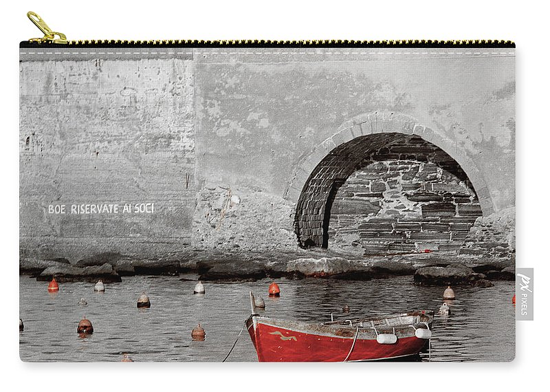 Boat Carry-all Pouch featuring the photograph Red Boat In The Harbor At Vernazza by Greg Matchick