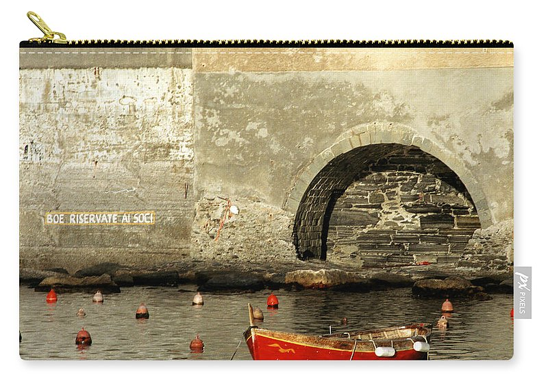 Boat Carry-all Pouch featuring the photograph Red Boat In Vernazza Harbor On The Cinque Terre by Greg Matchick