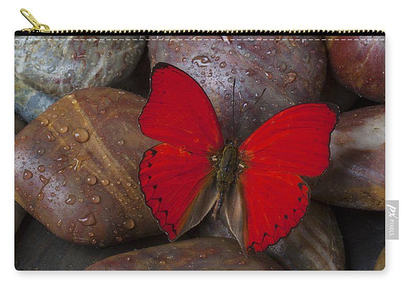 Wet Carry-all Pouch featuring the photograph Red Butterfly On Rocks by Garry Gay