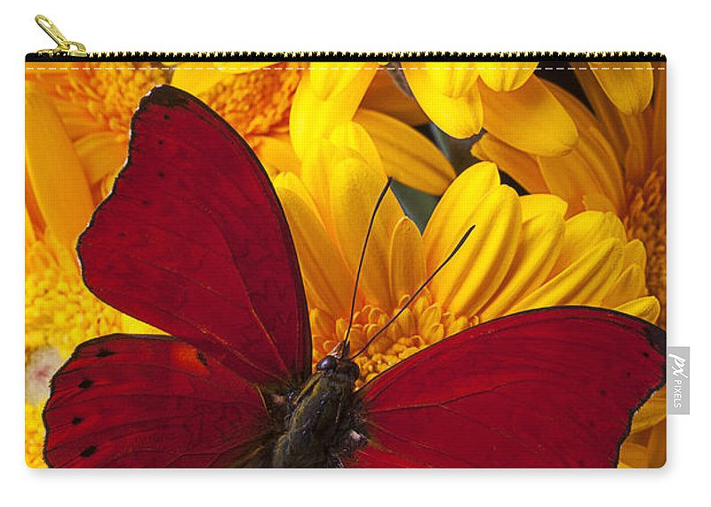 Red Butterfly Gerbera Carry-all Pouch featuring the photograph Red Butterfly On Yellow Gerbera Daisies by Garry Gay