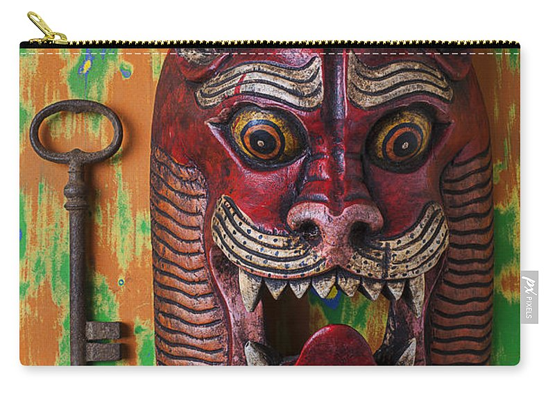 Red Carry-all Pouch featuring the photograph Red Cat Mask by Garry Gay