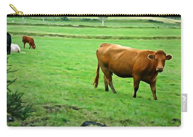 Cattle Carry-all Pouch featuring the photograph Red Cow by Charlie and Norma Brock