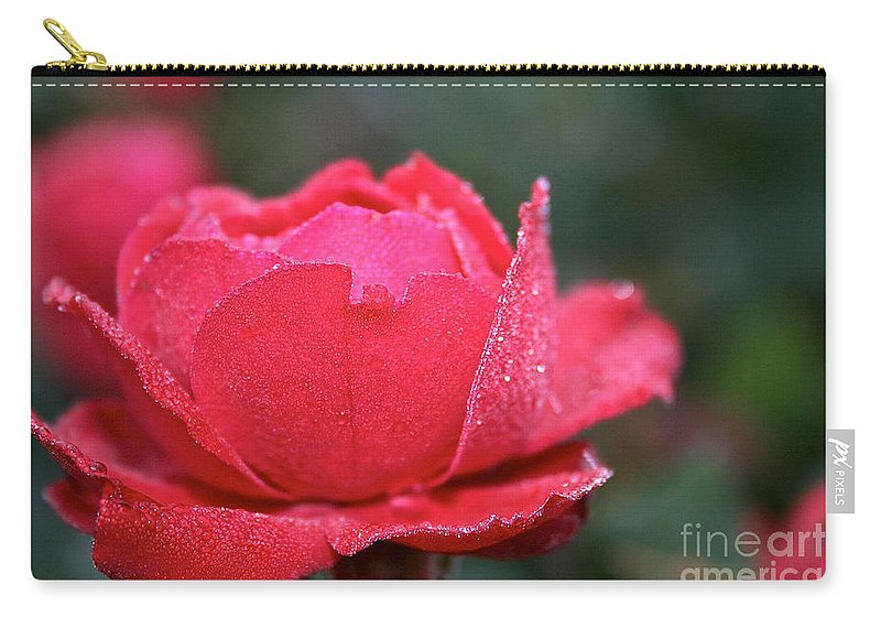 Flower Carry-all Pouch featuring the photograph Red Crystal Petals by Susan Herber