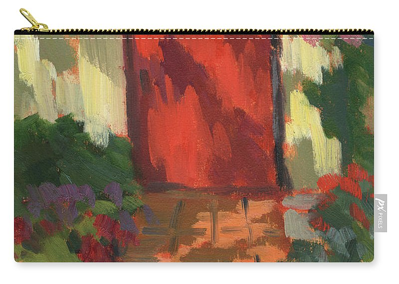 Red Door Carry-all Pouch featuring the painting Red Door - Shadow And Light by Diane McClary