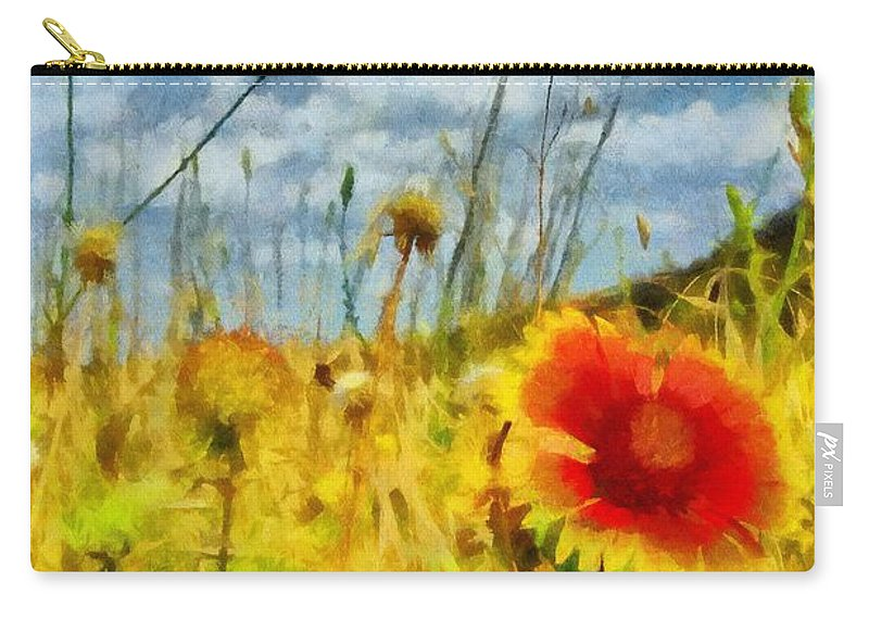 Wichita Carry-all Pouch featuring the painting Red Flower In The Field by Jeffrey Kolker