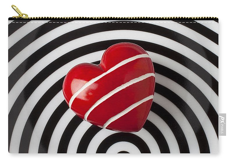 Red Carry-all Pouch featuring the photograph Red Heart On Circle Plate by Garry Gay