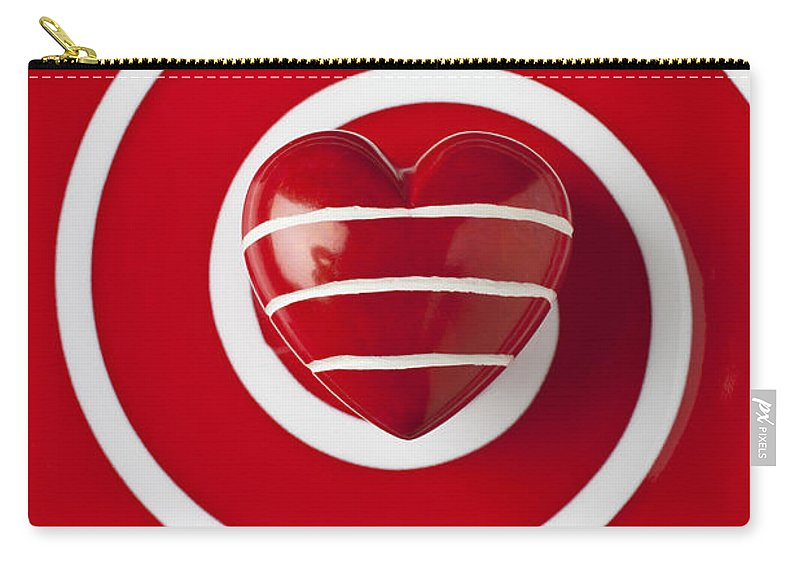 Red Carry-all Pouch featuring the photograph Red Heart Soft Stone by Garry Gay