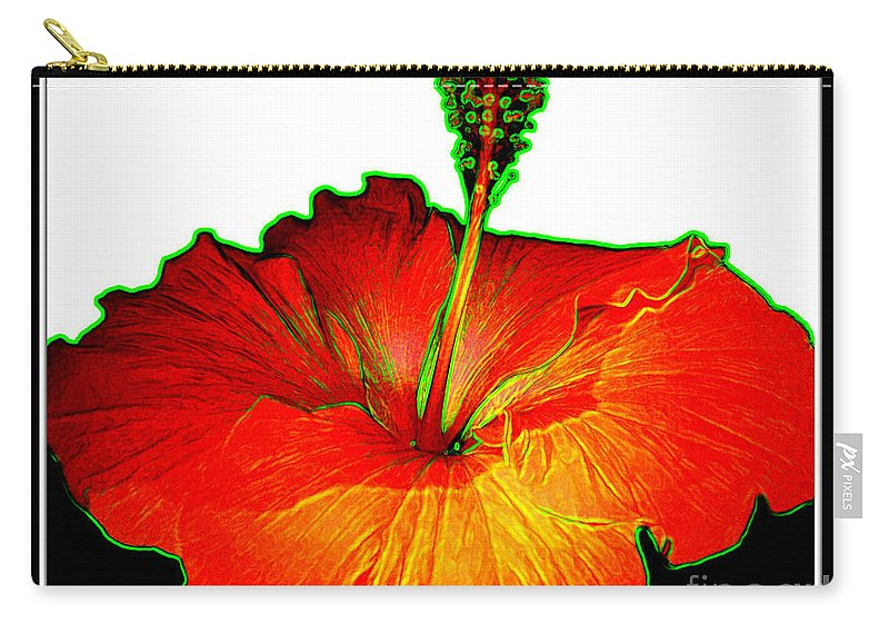 Red Hibiscus Carry-all Pouch featuring the photograph Red Hibiscus With Special Effects by Rose Santuci-Sofranko