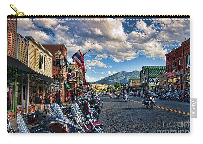 Motorcycles Carry-all Pouch featuring the photograph Red Lodge Motorcycle Rally by Gary Beeler