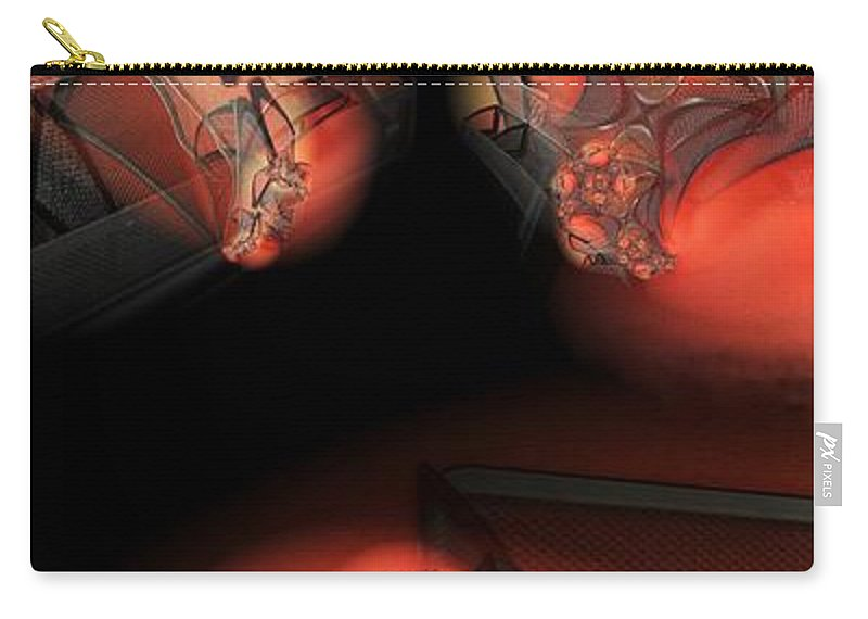 Abstract Carry-all Pouch featuring the digital art Red Mesh Meeting by Ron Bissett