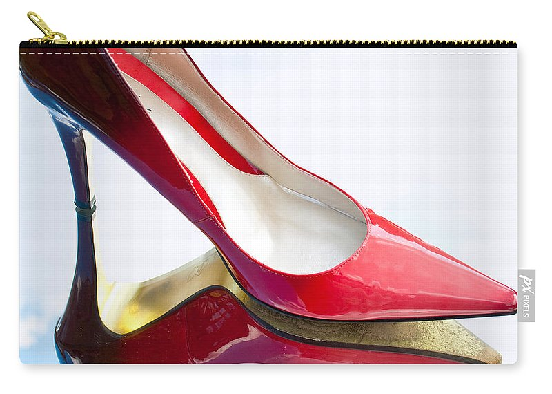 Wright Carry-all Pouch featuring the photograph Red Patent Stilettos by Paulette B Wright