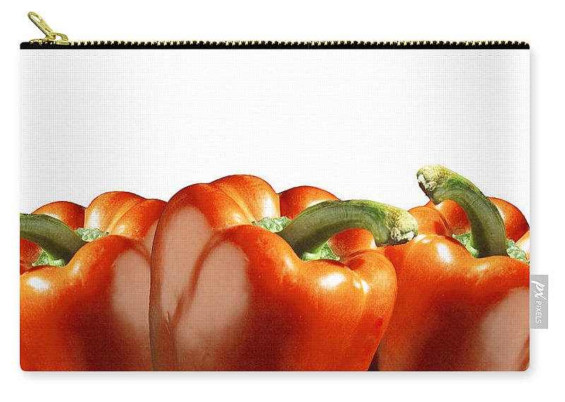 Art Carry-all Pouch featuring the photograph Red Peppers On White by Randall Nyhof