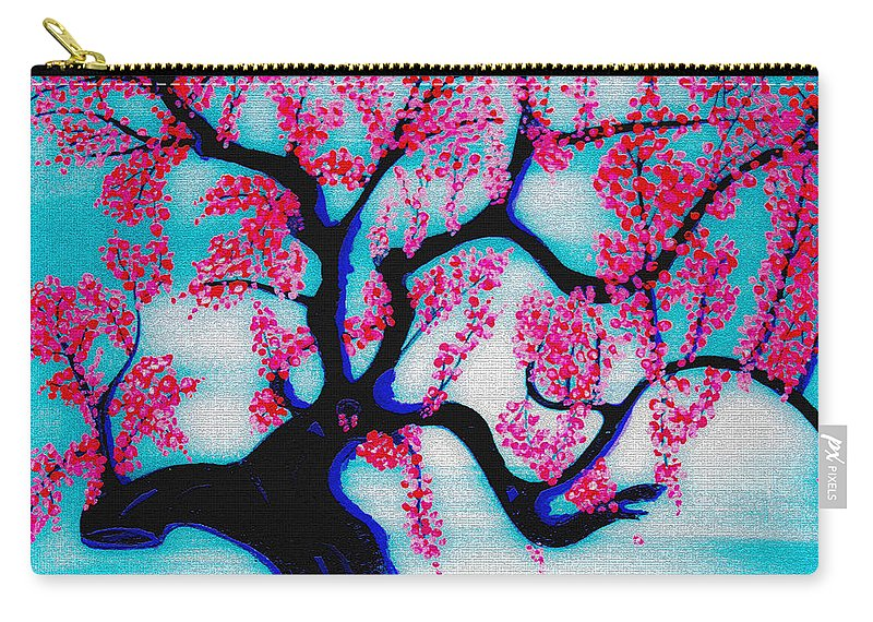 Chinese Influenced Art Carry-all Pouch featuring the painting Red Plum Chinese Style by Marie Jamieson