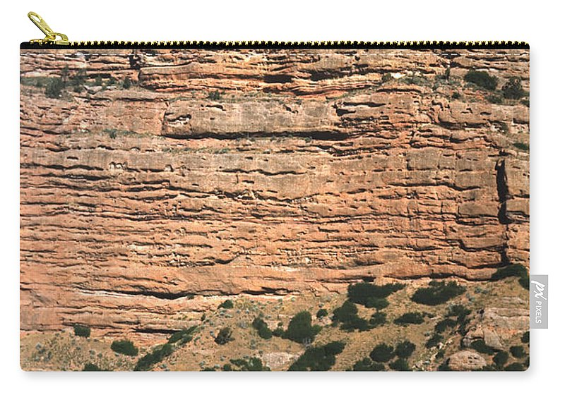 Americas Carry-all Pouch featuring the photograph Red Rock Cliffs Along The Hood River by Roderick Bley