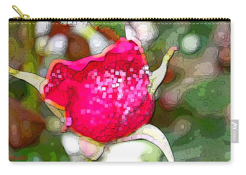 Augusta Stylianou Carry-all Pouch featuring the digital art Red Rose Bud by Augusta Stylianou